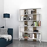 Homemania Libreria Jane, Legno, White/Walnut, 120 x 22 x 164 cm