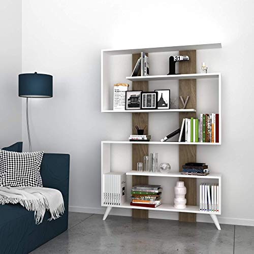 MINAR by Homemania Libreria Jane, melamina, PVC, White/Walnut