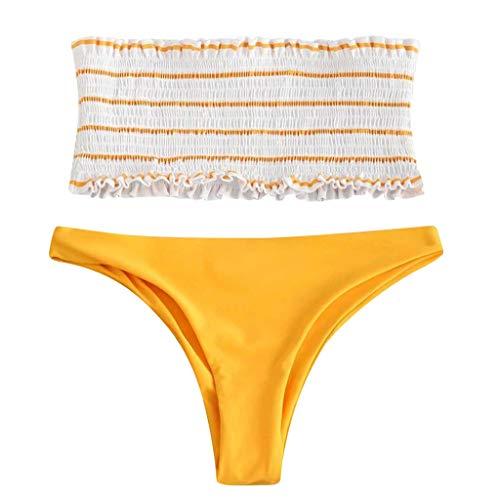VEMOW Heißer 2 STÜCK Bikini Sets Elegante Damen Frauen Bademode Bikini Anzug Streifen Push-Up Gepolsterte Bad Beachwear(Weiß, EU-40/CN-XL)