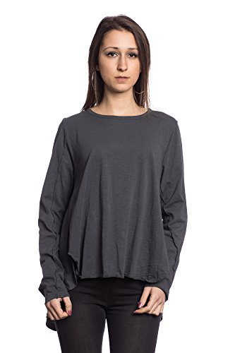 Abbino IG006 Langarm Shirts Tops Ragazze Donne - Made in Italy - Multiplo Colori - Mezza Stagione Primavera Estate Autunno Tenerezza Leggero Fascino Semplici Shirts Bluse Maglie Cotone Fashion Antracite (Art. 17225)