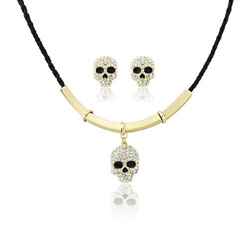 Neoglory Jewellery Schmuckset 14 K Gold mit Swarovski® Elements Strass Totenkopf weiß (Einfach 2 Person Halloween Kostüme)