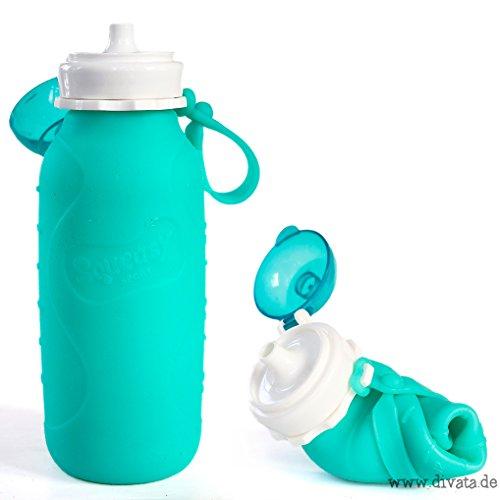 Squeasy Sport - Wiederverwendbare Quetschflasche, Trinkflasche aus Silikon, 440ml, BPA-frei, leichte Trinkflasche, Aufrolllbar, Auslaufsicher, Ideal für Smoothies (Aqua)