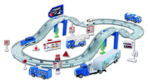 Police Car Track Set With 4 Cars Road Signs & Accessories - Large 180cm Includes 29 Pieces - Kids Toy Playset
