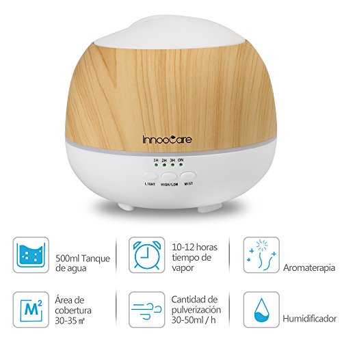InnooCare 500ml Humidificador Ultrasónico Aromaterapia Difusor de Aceites Esenciales Difusor de Aroma 7 Colores LED 4 Temporizadores Vapor Frío Casa, Dormitorio, Baño, Yoga, Sauna y Oficina
