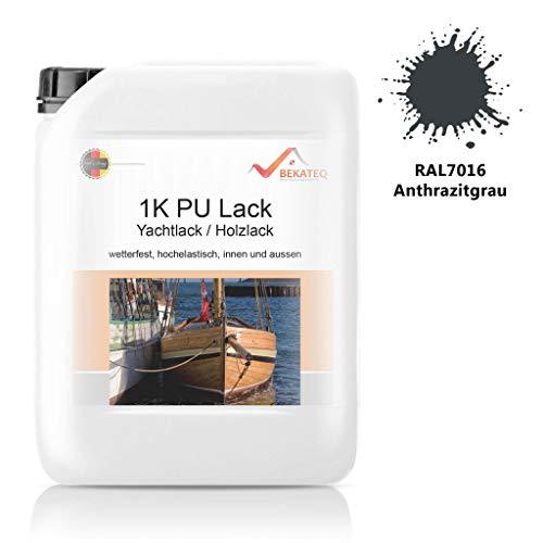 Bekateq LS-150 PU Klarlack für Holz, 5L RAL7016 Anthrazitgrau glänzend, Holzlack für Parkett, Treppen, Boot oder Yacht auf Polyurethan Basis