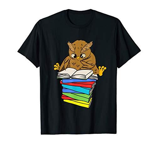 Süße Eule mit Büchern die gerade liest T-Shirt Leseratten