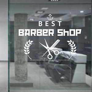 Barber Shop vinyle autocollant mural beauté Barber coupures Beard rasoir ciseaux pancarte Art Sticker Mural Cheveux décoration de vitrine