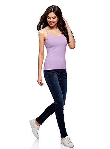 oodji Ultra Femme Top à Fines Bretelles sans Étiquette (Lot DE 2) Violet (8000N)