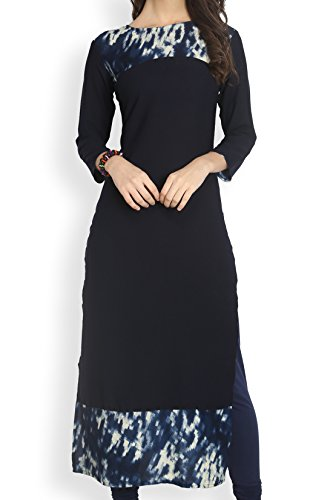 Eternal Women's Crepe Stylish Long Kurti( TSFK001_S, Navy Blue)