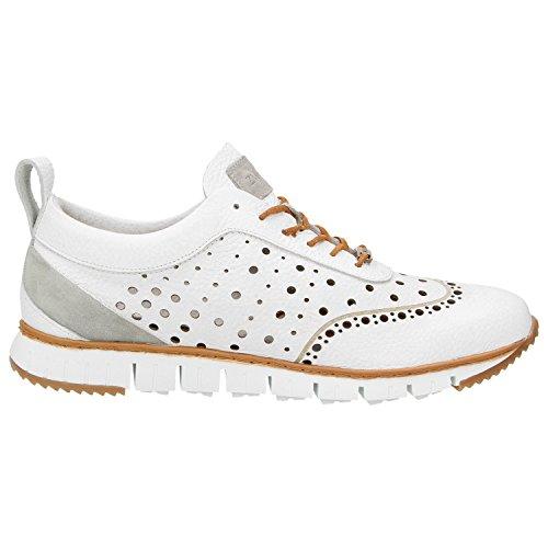 Zweigut Hamburg- Komood #356 Herren Sneaker Leder Schuhe Luftiges Brogue-Muster auf Extrem Flexibler Sohle Weiß