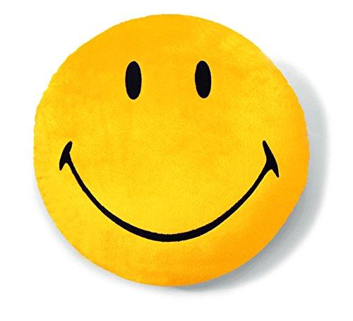 Nici 35871 - Kissen Smiley, Plüsch, rund, Durchmesser 35 cm, gelb