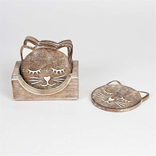 Sass & Belle Wooden Carved Cat Coaster - Set of 6