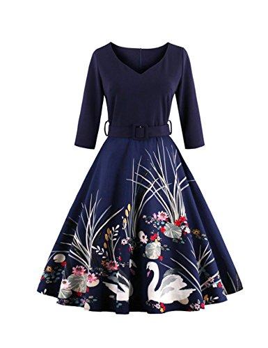 VKStar® Retro 1950s 3/4 Ärmel mit Stoffdruck Vintage Rockabilly Swing Kleid / Cocktailkleid Herbstkleid Marineblau L