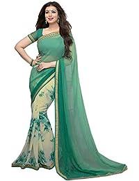Pramukh Saris Women's Georgette Saree With Blouse Piece (Tv18, Green,White, Free Size)