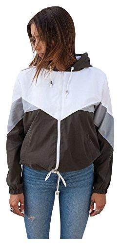 Blouson Damen Übergangsjacke Windbreaker Jacke Kapuzenjacke Colorblock (XS, Khaki)