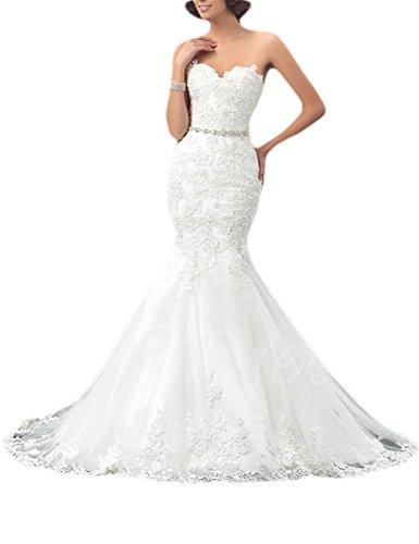 Erosebridal Schatz Meerjungfrau Brautkleid Spitze Lang Hochzeitskleid Weiß DE40