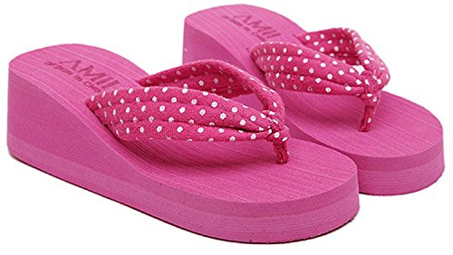 Minetom Donna Flip Flops Dot Stampa Piattaforma Sandali Slim Infradito e ciabatte da spiaggia Rose