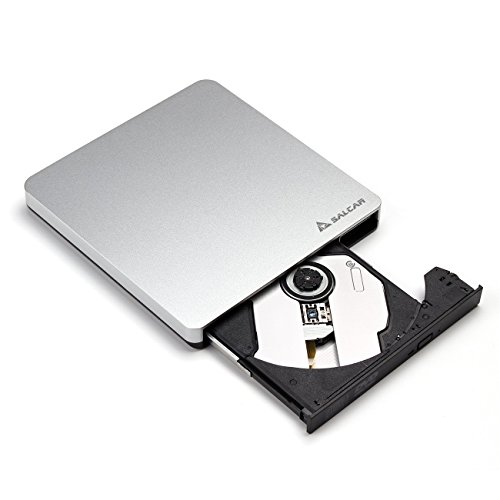 Salcar – Externes DVD Laufwerk USB 3.0 Multi DVD/CD Brenner für Notebook/Laptop/Desktops unter Windows Vista/XP/7/8/8.1/10/Linux und Apple Macbook Pro, Macbook Air, iMac OS- Aluminum Silber