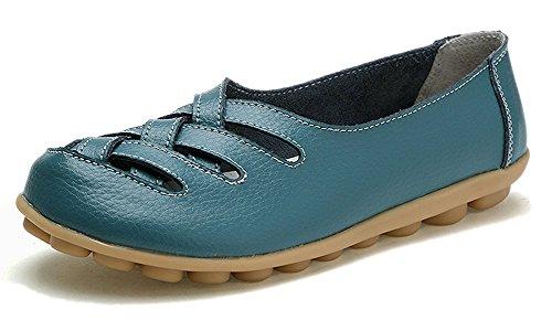 Mocasines de Cuero Mujer Loafers Casual Zapatos de Conducción Cómodos Zapatillas del Barco