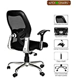 SAVYA HOME APEX Plastic Apollo Medium Chair (Black, Standard Size)