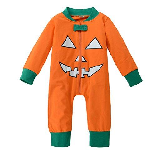 Baby Halloween Kürbis Kostüm Bruder Schwester Kleidung One Piece Zwei Stück Overall Langarm Shirt und Hosen Mit (Schwester Kostüme Bruder Halloween)