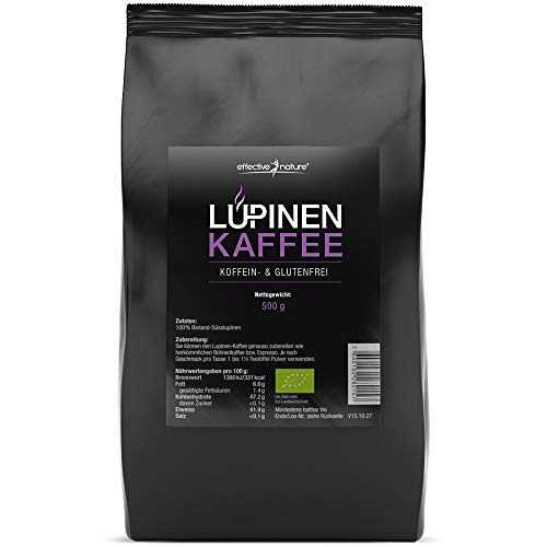 effective nature Lupinenkaffee - Der ideale Kaffeeersatz, Koffeein- und Glutenfrei, Aus kontrolliert biologischem Anbau, In Deutschland hergestellt, Vollmundiger aromatischer Geschmack, 500g