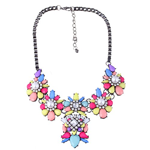 Yazilind Vintage cristal diamante de imitacion colorido collar de flor