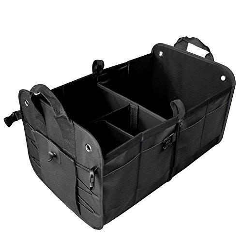 scopow - Organizer per bagagliaio auto, pieghevole, resistente, impermeabile, con 2scomparti ampi e pratiche tasche laterali, per auto, SUV, camion e minivan, colore: nero