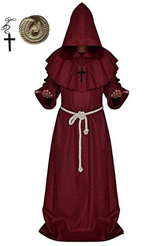 erzienser Mönch, VERNASSA Priester Mönch Robe Priester Cape Robe Halloween Cosplay Kostüm Umhang, S-XXL (Renaissance-kostüme Für Erwachsene)