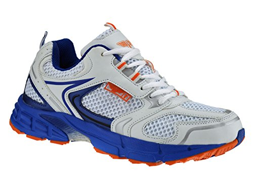Mens Casual Running Walking Gym Sports Shock Absorbing Trainers Shoes Size[UK 9.5,White]