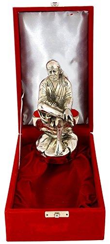 International Gift Aluminium Sai Baba Idol (18 cm x 10 cm x 9 cm, Silver)