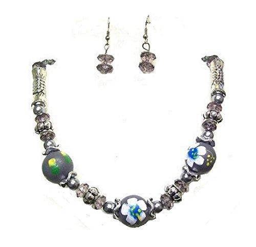 s Bead Ball Party Kleid Halskette Ohrringe Schmuck-Set für Frauen (Teenager Mädchen Kostüme Uk)