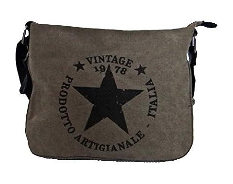 angesagte kultige Tasche Umhaengetasche mit Stern , Canvas Leder Mix,olive