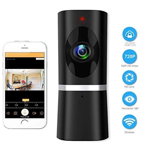 Wlan IP Kamera WIFI Überwachungskamera Innen Home Haustier Kamera Baby Monitor mit Nachtsicht Bewegungserkennung 2 Wege Audio 180° Weitwinkel Smart Cloud Kamera Fernalarm und Mobile App Kontrolle (Upgrated)