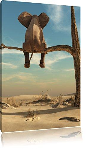 sitzender Elefant auf einem Ast in der Wüste, Format: 100x70 auf Leinwand, XXL riesige Bilder fertig gerahmt mit Keilrahmen, Kunstdruck auf Wandbild mit Rahmen, günstiger als Gemälde oder Ölbild, kein Poster oder Plakat