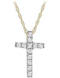 Pave Prive Women's 14ct Yellow Gold Round White Diamonds Cross Pendant Necklace of 44.5cm