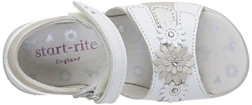 Start Rite Clover Normal, Sandales Plateforme fille Blanc - White (White/Silver)