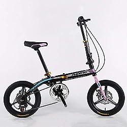 TD Vélo Pliable 16 Pouces Ultra-léger à Vitesse Variable Hommes et Femmes Adultes Pliant Un vélo Enfant de Voiture d'étudiant de Roue (Couleur : Noir)