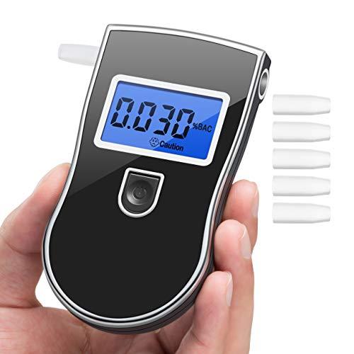 Vtin Ethylotest Electronique Haute Sensibilité, Ethylotest Homologué Affichage Précise 3 Unités avec Écran LCD, Test Alcoolémie 5 Embouts Supplémentaires