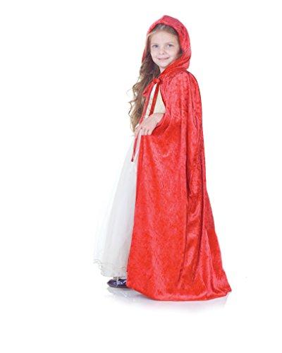 Rotkäppchen Umhang für Kinder - rot - Panne Samt