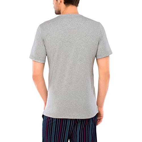 SCHIESSER Herren T-Shirt, Kurzarm, Schlafanzugsjacke, Mix & Relax, rot, türkis oder grau, 142777 o. 142778 142777 grau