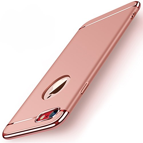 "Apple iPhone 8 (4.7"") Hülle, MSVII® 3-in-1 Design PC Hülle Schutzhülle Case Und Displayschutzfolie für Apple iPhone 8 (4.7"") - Gold JY50178 Rose Gold"