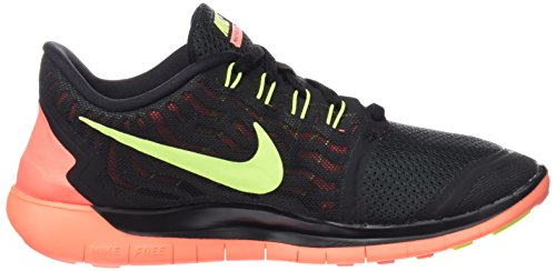 Nike Wmns Free 5.0, Chaussures de Running Compétition Femme Multicolore - mehrfarbig (Black/Volt-Bright Mango)
