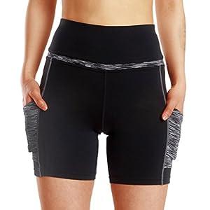 Frauen Aktive Hohe Taille Yoga Shorts Fitness Laufhose Trainingsstrumpfhose Kurze Hose mit Seitentaschen Ash Fight Black L