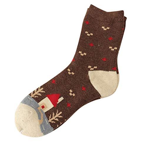 Honestyi Damen Cashmere Wolle Dicke warme Socken Wintermode gestreifte Wollfrotteehaus Kleiner Baum - Falke-high Heel