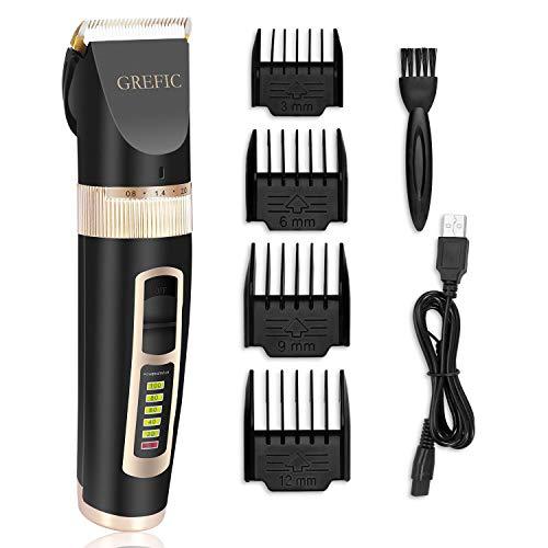 GREFIC Haarschneider Herren Haarschneidemaschine Elektrischer Bartschneider Haarscherer Haartrimmer Barttrimmer Präzisionstrimmer Männer für Salon oder zu Hause Wiederaufladbare USB Aufladen