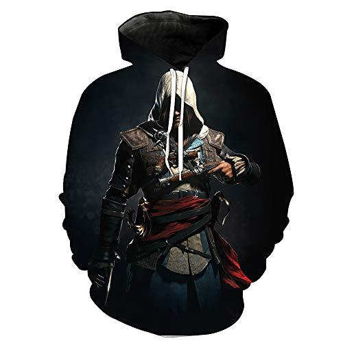 Assassins Machen Kostüm Creed - HDPDY Hoodie Langarm Mantel Slim fit Pullover Crew Neck 3D Print Cosplay Kapuzen-Sweatshirt Männer Frauen Kapuzenjacke Sweatshirt Paar Tops Pullover Hooded Sweat Sweatshirt Tops Assassin's Creed