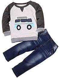 2PCS Bebé Dibujos Coche manga larga camiseta +vaqueros Jeans pantalones ropa Conjunto,Yannerr niña niño primavera Verano tejana bordada Denim top Jersey mono traje