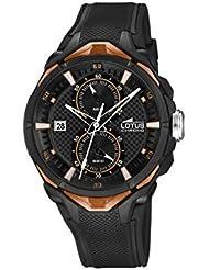 Lotus 18107/3 - Reloj de pulsera hombre, Caucho, color Negro