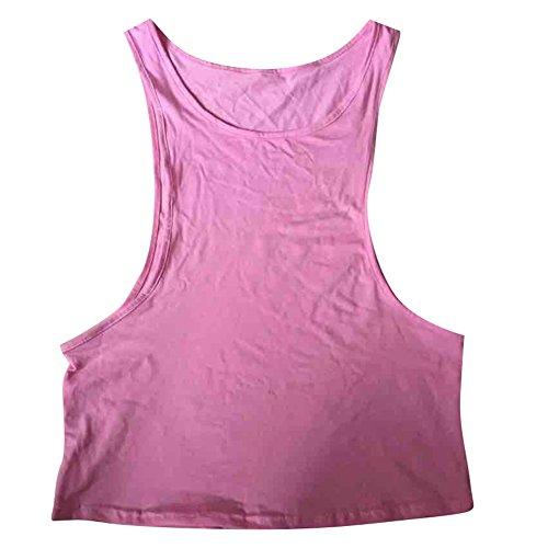 Highdas Estate Blusas donne sexy casuale della maglia senza maniche aperto laterali canotte Pink